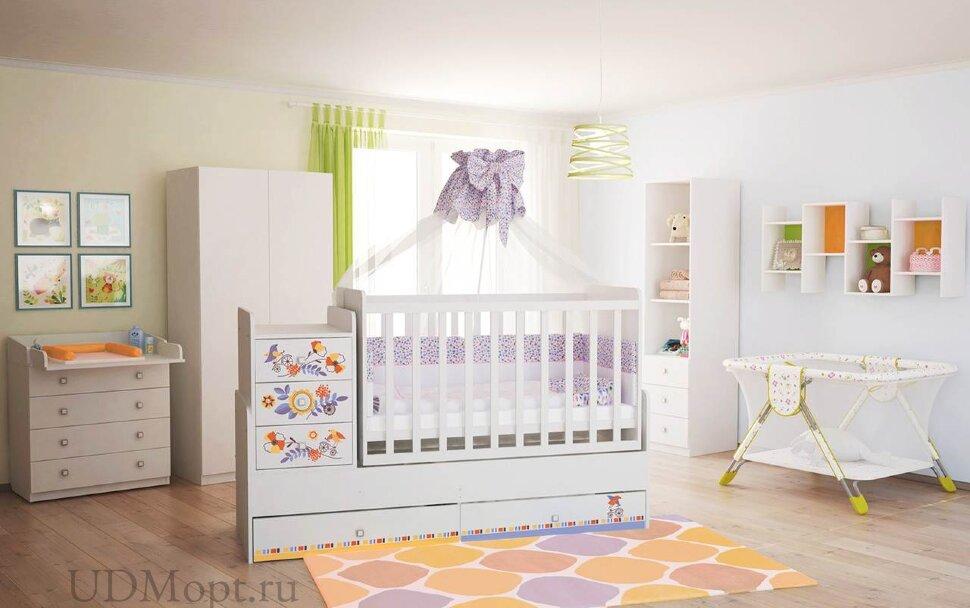 Кроватка детская ФЕЯ 1100 Прогулка, белый оптом и в розницу
