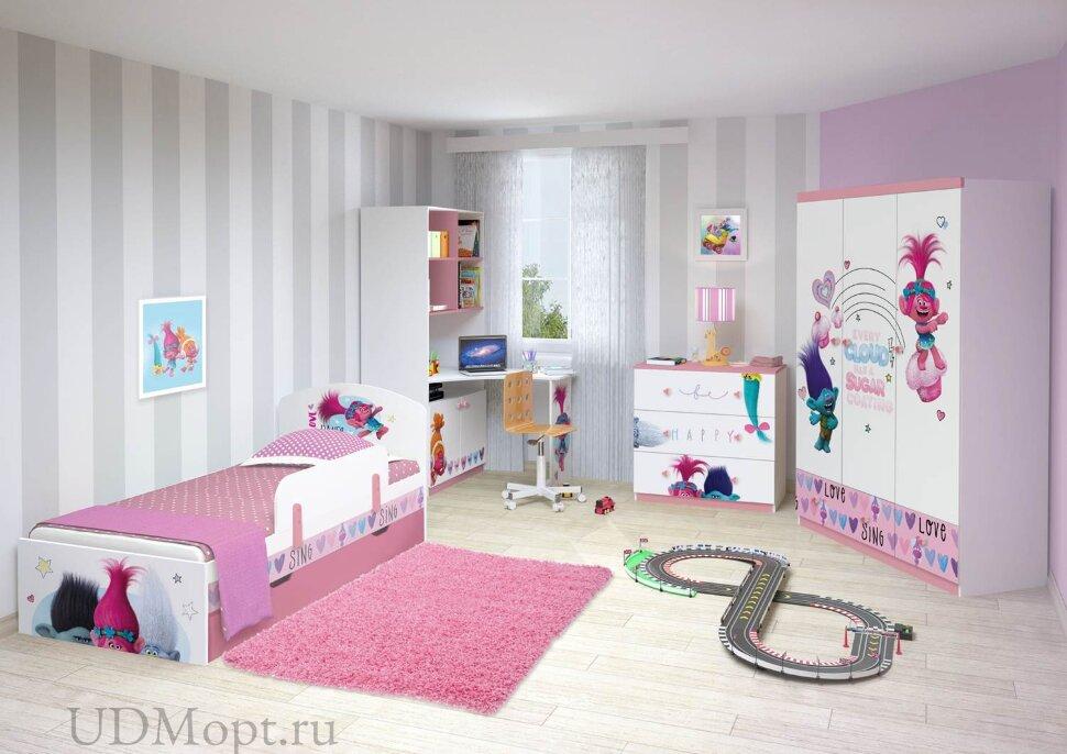 Стеллаж двухсекционный Polini kids Fun 1230 Тролли, со столом, розовый оптом и в розницу