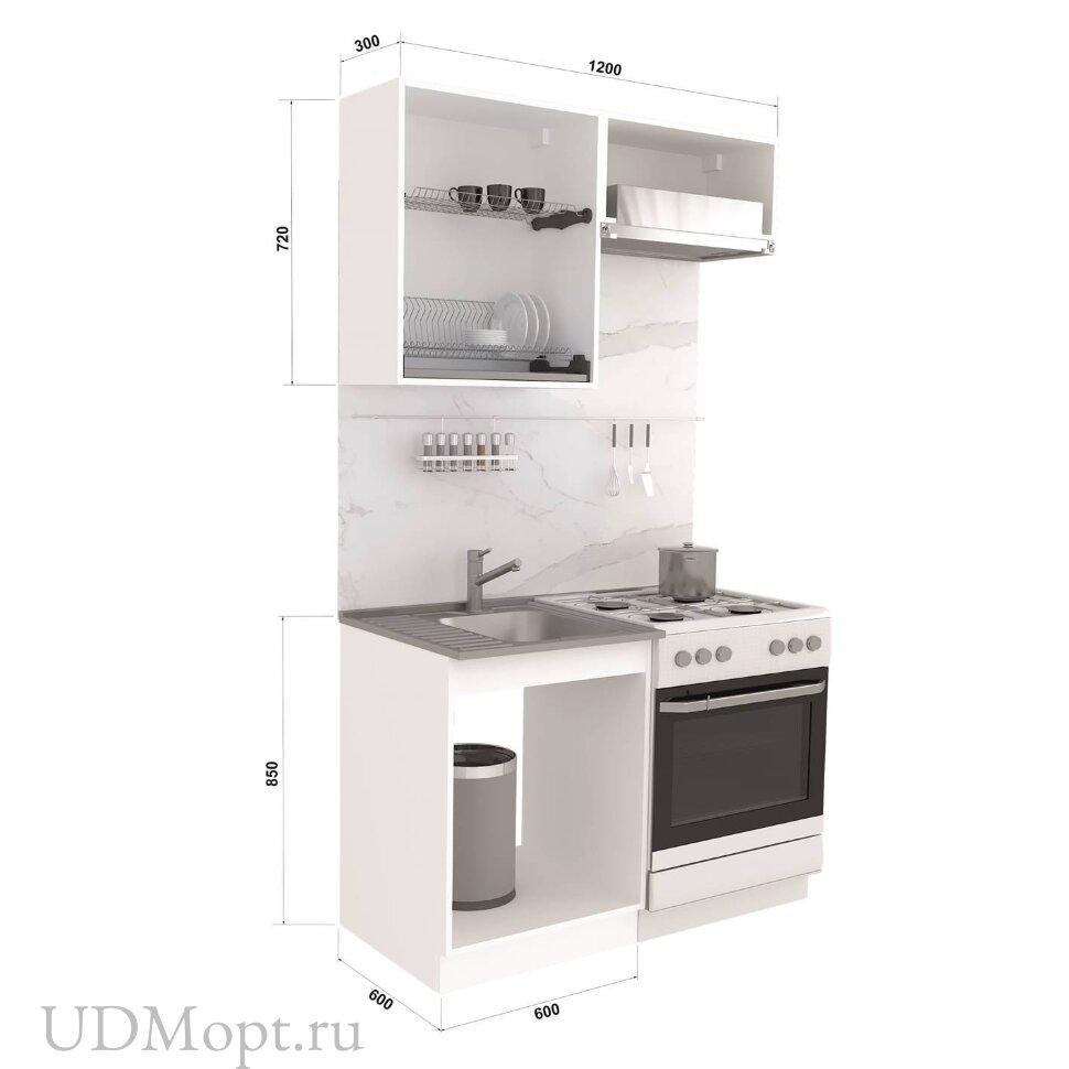 Кухонный гарнитур Polini Home Urban 1200,  белый-зеленый оптом и в розницу