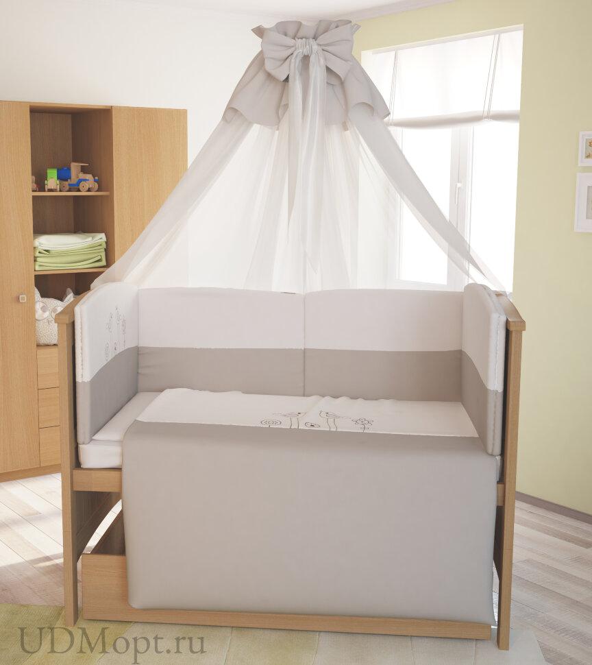 """Комплект в кроватку Polini kids """"Волшебная полянка"""" 7 предметов 140х70 оптом и в розницу"""