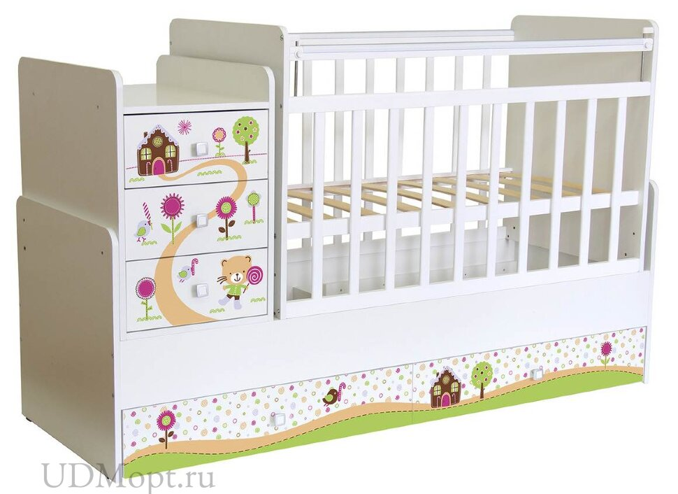 Кроватка детская ФЕЯ 1100 Пряничный домик, белый оптом и в розницу