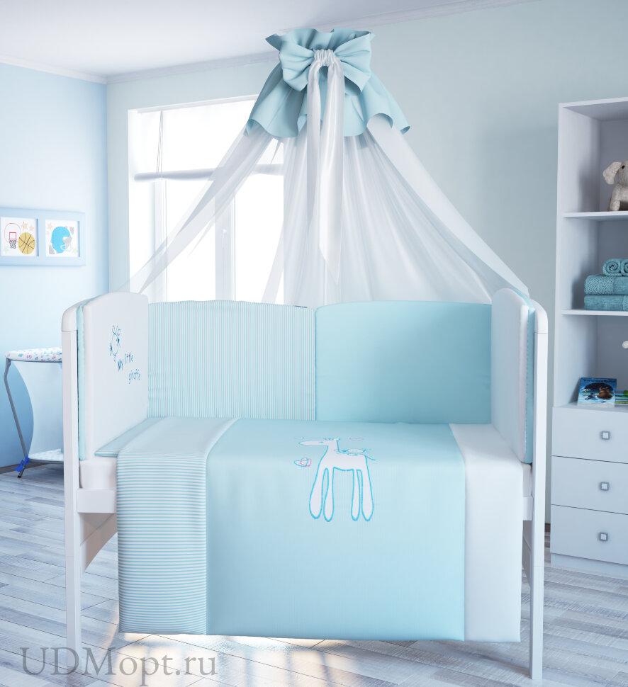 """Комплект в кроватку Polini kids """"Жирафик"""" 7 предметов 140х70 оптом и в розницу"""