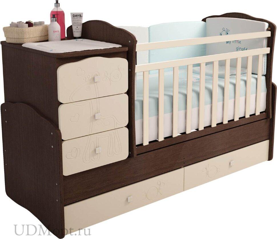 """Кровать детская Фея 2150 венге-бежевый """"Жирафик"""" оптом и в розницу"""