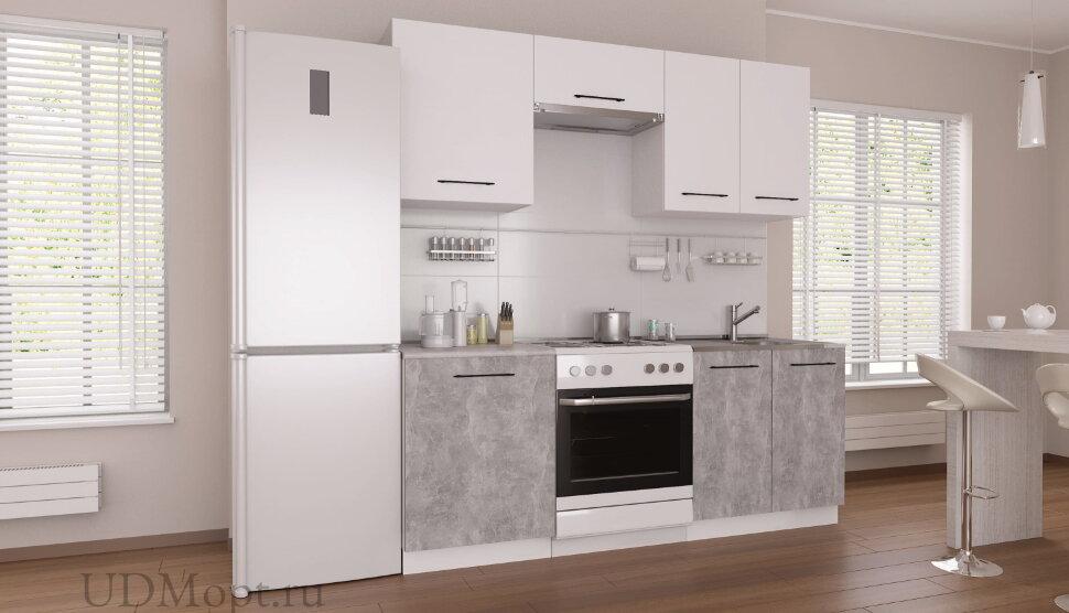 Кухонный гарнитур Polini Home Urban 2000,  белый-бетон оптом и в розницу