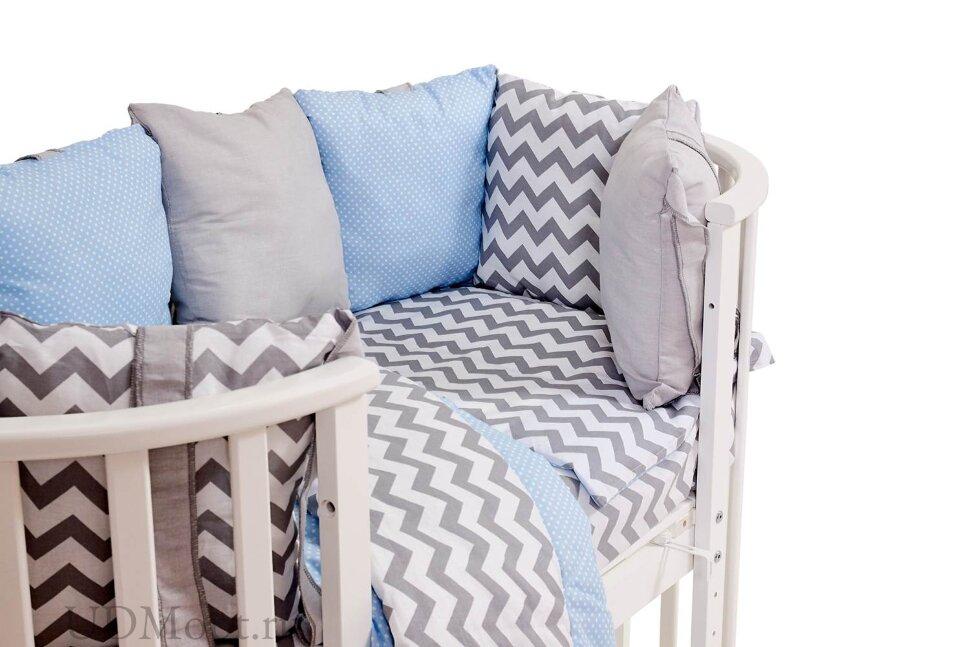 Комплект в кроватку Polini kids Зигзаг 5 предметов, 120х60, серо-голубой оптом и в розницу