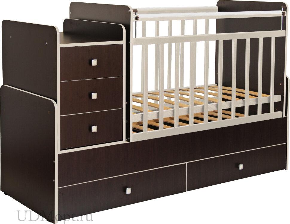 Кроватка детская Фея 1100 венге кромка бежевый оптом и в розницу