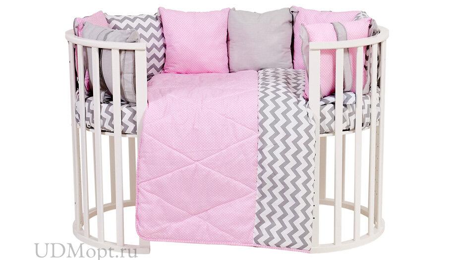 Комплект в кроватку Polini kids Зигзаг 5 предметов, 120х60, серо-розовый оптом и в розницу
