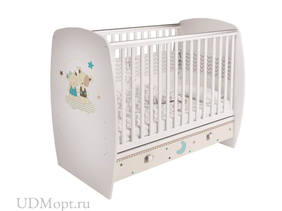 Кроватка детская Polini kids Simple 710, Лучшие друзья, с ящиком, белый оптом и в розницу