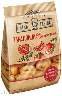 «Nina Farina», тараллини с томатом и ароматными травами, 180г оптом и в розницу