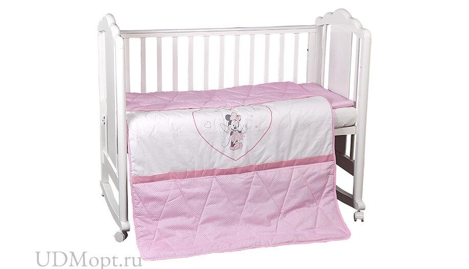 Комплект постельного белья Polini kids Disney Baby Минни Маус, розовый оптом и в розницу