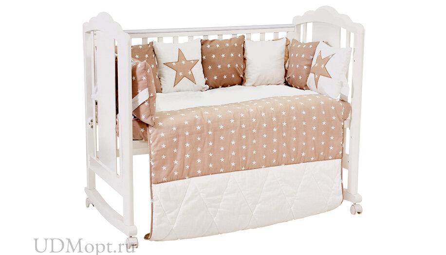 Комплект в кроватку Polini kids Звезды 5 предметов, 120х60, макиато оптом и в розницу