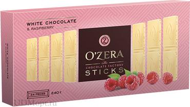 «OZera», белый шоколад с кусочками малины, в форме стиков, 240г оптом и в розницу