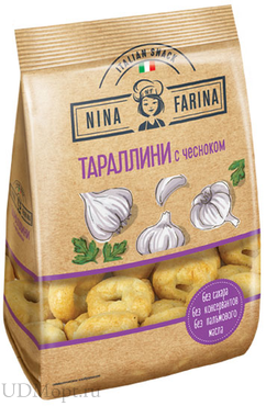 «Nina Farina», тараллини  с чесноком, 180г оптом и в розницу