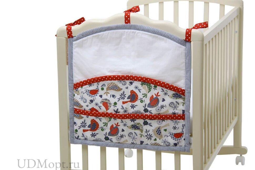"Карман на кроватку Polini kids ""Кантри"", красный оптом и в розницу"