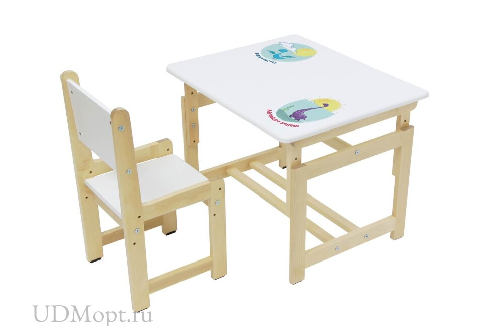 Комплект растущей детской мебели Polini kids Eco 400 SM, Дино 1, 68х55 см, белый-натуральный оптом и в розницу