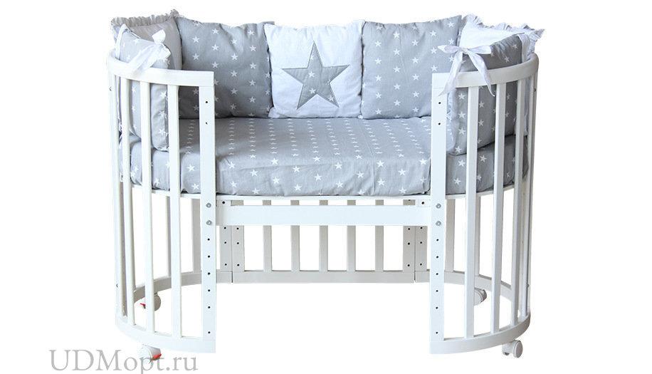 Комплект в кроватку Polini kids Звезды 5 предметов, 120х60, серый оптом и в розницу