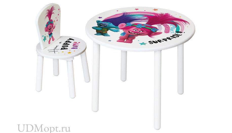 Комплект детской мебели Polini kids Fun 185 S Тролли, розовый оптом и в розницу