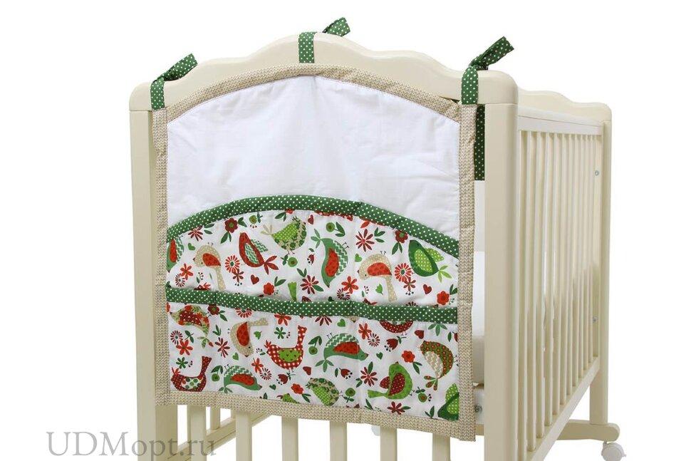 """Карман на кроватку Polini kids """"Кантри"""", зеленый оптом и в розницу"""