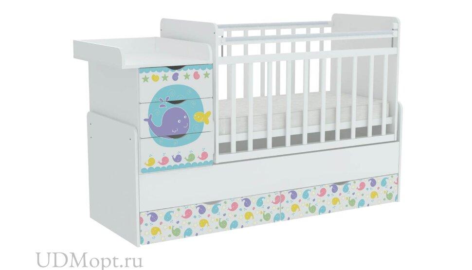 Кроватка детская ФЕЯ 1150 Морская история, белый оптом и в розницу