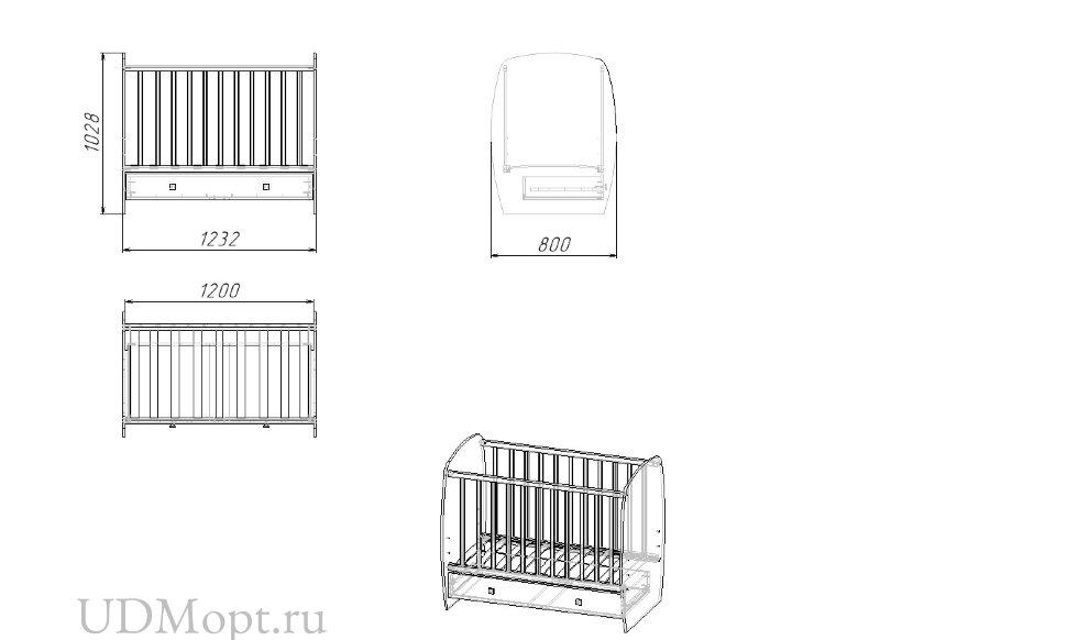 Кроватка детская Polini kids Simple 710, Слоник на шаре, с ящиком, белый оптом и в розницу