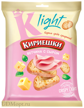 «Кириешки Light», сухарики со вкусом ветчины с сыром, 80г оптом и в розницу