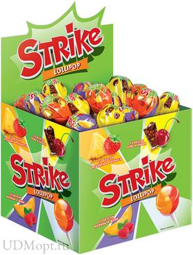 Карамель на палочке Strike с двойными вкусами, 11г оптом и в розницу