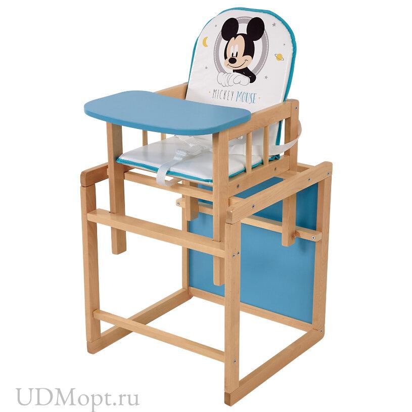 Стул детский трансформируемый Polini kids Disney baby 255 Микки Маус, натуральный-бирюзовый оптом и в розницу