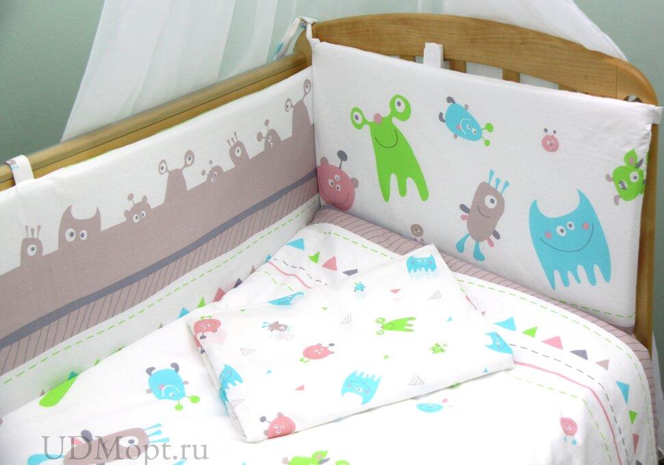 """Комплект в кроватку Polini kids """"Монстрики"""" 7 предметов 120х60 оптом и в розницу"""