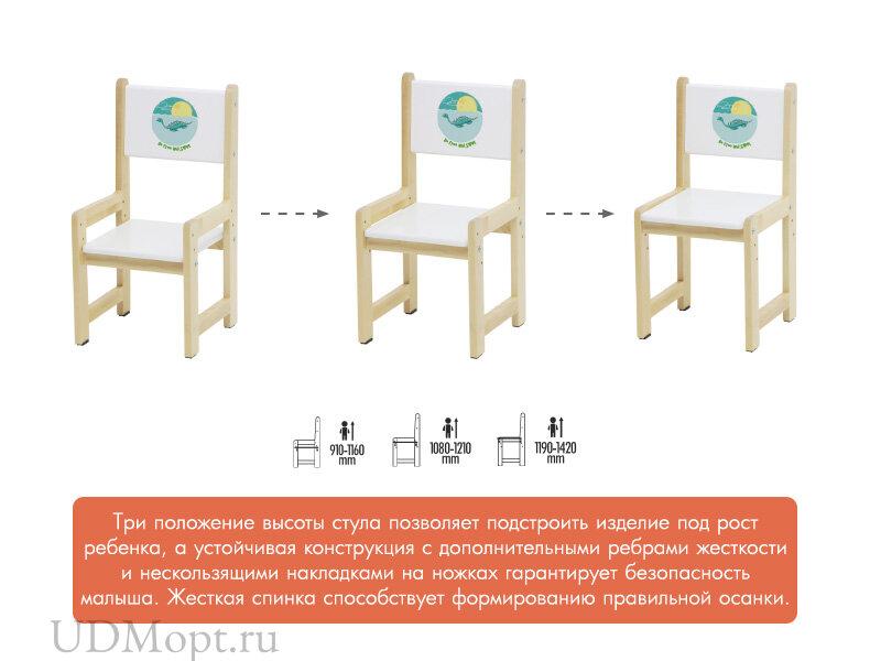 Комплект растущей детской мебели Polini kids Eco 400 SM, Лесная сказка, 68х55 см, белый-натуральный оптом и в розницу