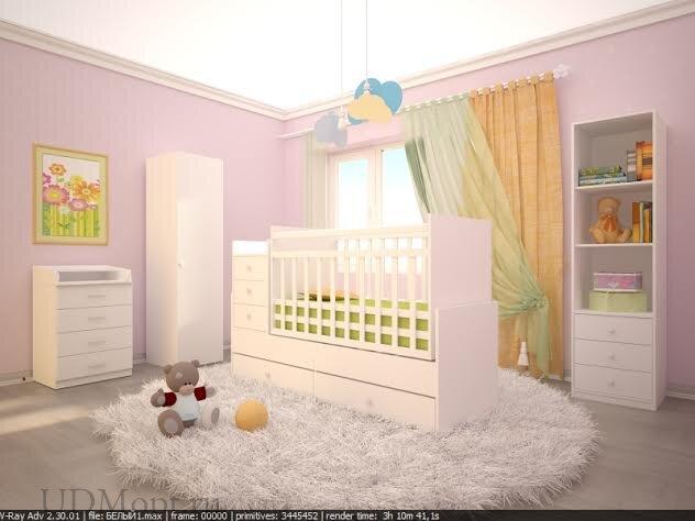 Кроватка детская Фея 1200 белый оптом и в розницу