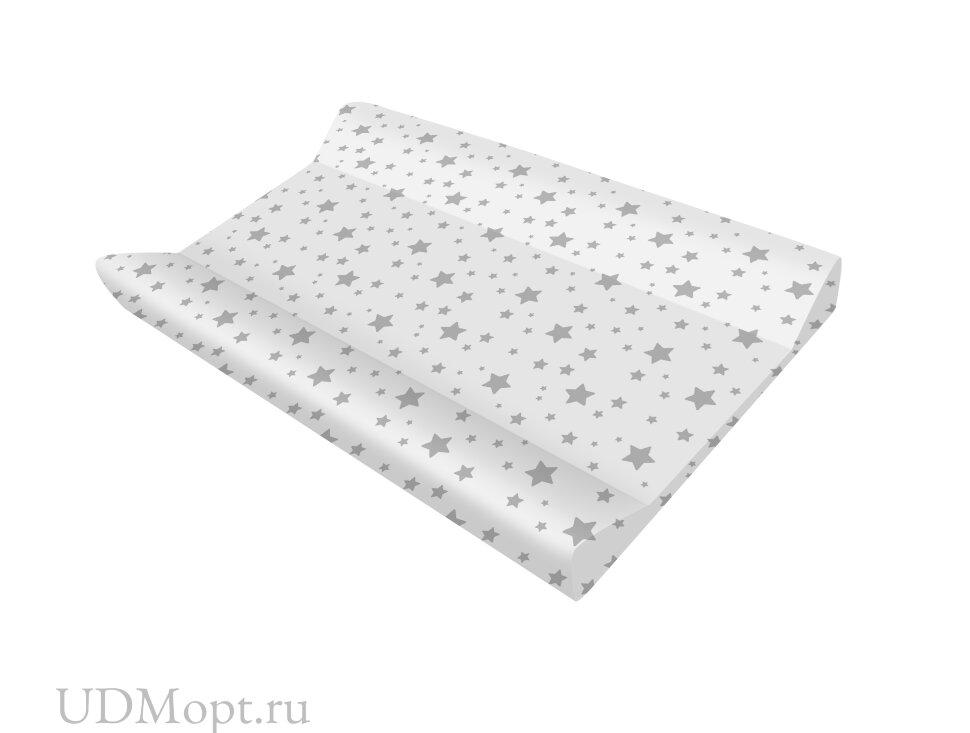 Доска пеленальная для комода с ванночкой Polini kids Basic 3275, Звезды, серый-белый оптом и в розницу