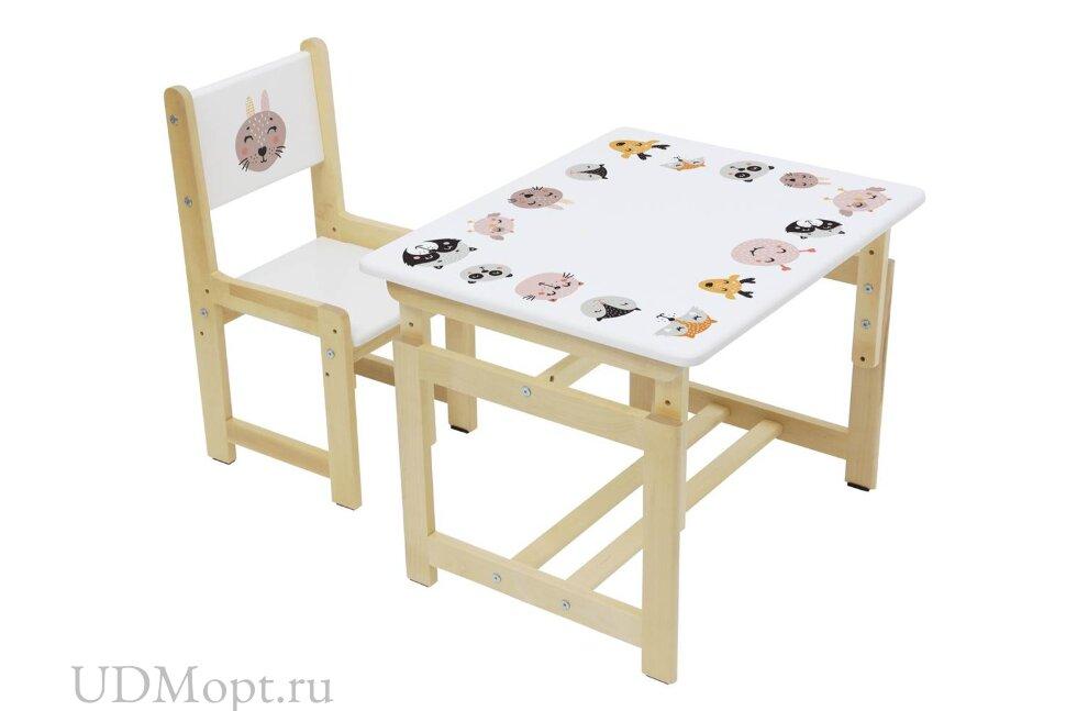 Комплект растущей детской мебели Polini kids Eco 400 SM Смайл, 68х55 см, белый-натуральный оптом и в розницу