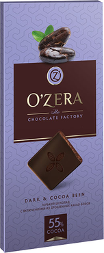«OZera», шоколад горький с кусочками какао-бобов Dark & Cocoa bean, 100 г оптом и в розницу
