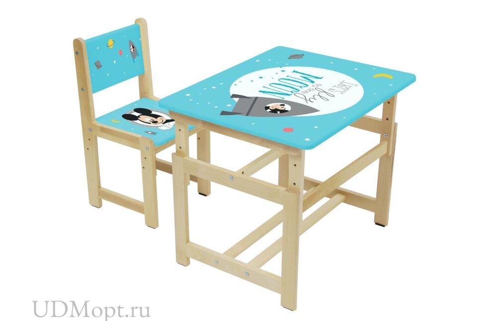 Комплект растущей детской мебели Polini Kids Disney baby 400 SM, Микки Маус, 68х55, синий-натуральны оптом и в розницу