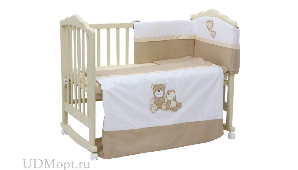 """Комплект в кроватку Polini kids """"Плюшевые мишки"""" 7 предметов, бежевый 120х60 оптом и в розницу"""