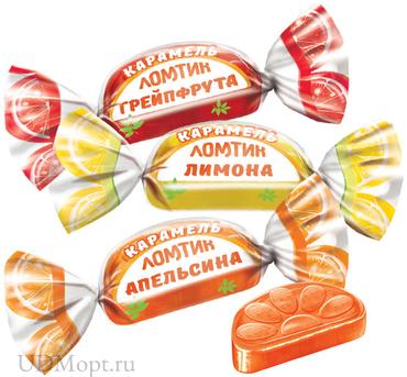 Карамель «Ломтики со вкусами апельсина, лимона и грейпфрута» (упаковка 1кг) оптом и в розницу