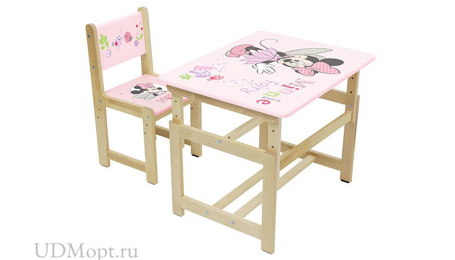 Комплект растущей детской мебели Polini Kids Disney baby 400 SM, Минни Маус, 68х55, розовый-натураль оптом и в розницу