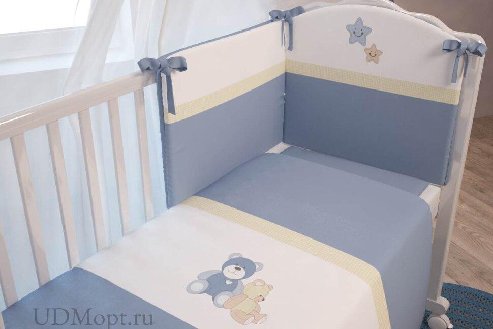 """Комплект в кроватку Polini kids """"Плюшевые мишки"""" 7 предметов, голубой 120х60 оптом и в розницу"""