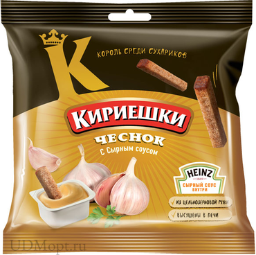 «Кириешки», сухарики со вкусом чеснока и сырным соусом, 85г оптом и в розницу