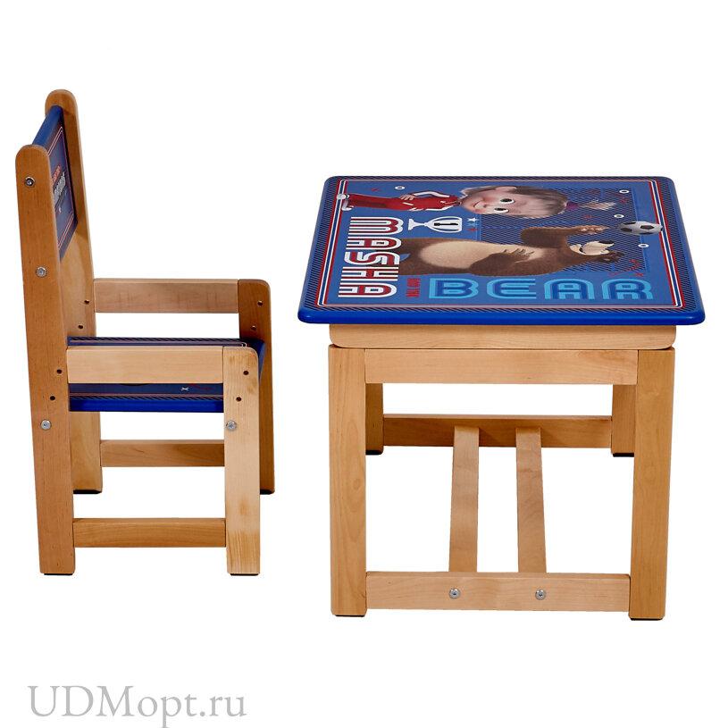 Комплект растущей детской мебели Polini kids Fun 400 SM, Маша и Медведь, 68х55,синий оптом и в розницу