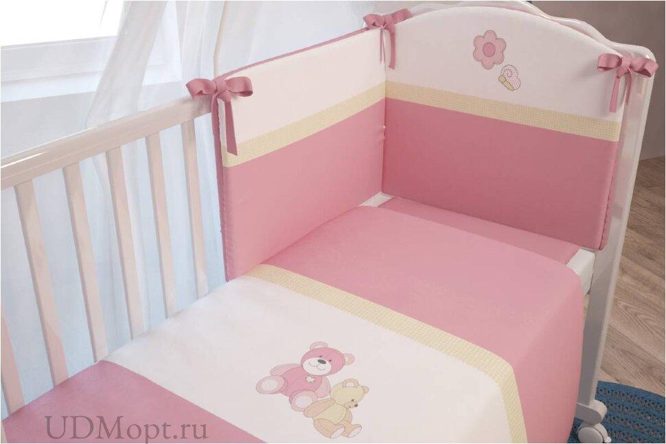 """Комплект в кроватку Polini kids """"Плюшевые мишки"""" 7 предметов, розовый 120х60 оптом и в розницу"""