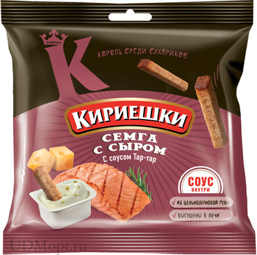 «Кириешки», сухарики со вкусом семги с сыром и соусом тар-тар, 85г оптом и в розницу