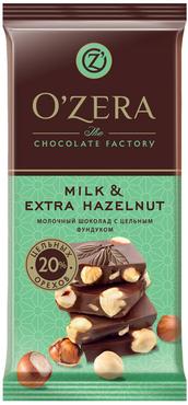 «OZera», шоколад молочный с цельным фундуком  Milk & Extra Hazelnut, 90г оптом и в розницу
